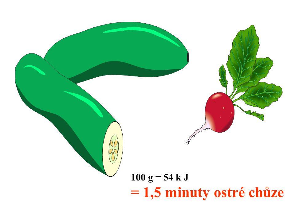 100 g = 54 k J = 1,5 minuty ostré chůze