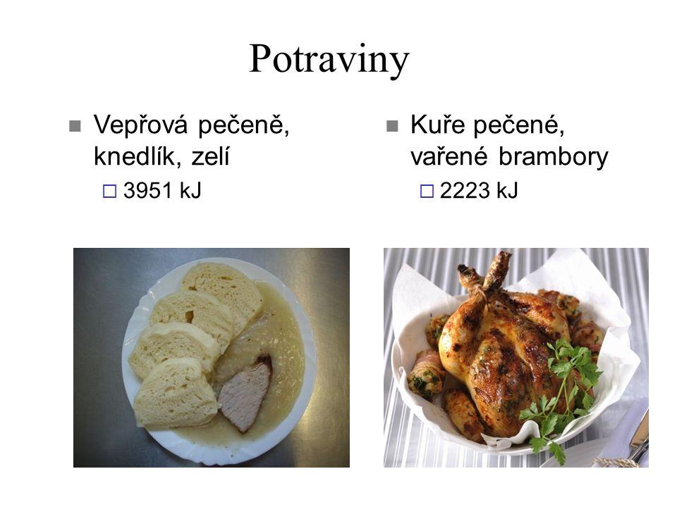 Potraviny Vepřová pečeně, knedlík, zelí  3951 kJ Kuře pečené, vařené brambory  2223 kJ