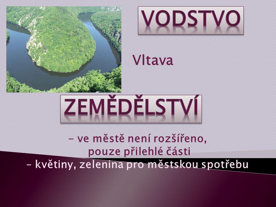 Vltava - ve městě není rozšířeno, pouze přilehlé části – květiny, zelenina pro městskou spotřebu