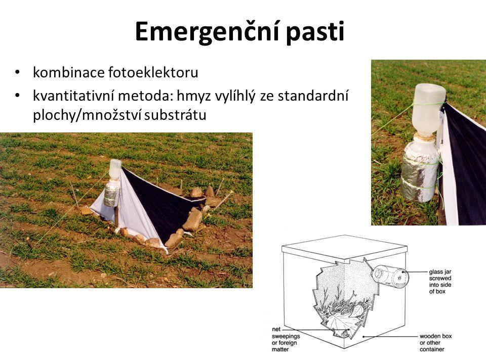 Emergenční pasti kombinace fotoeklektoru kvantitativní metoda: hmyz vylíhlý ze standardní plochy/množství substrátu