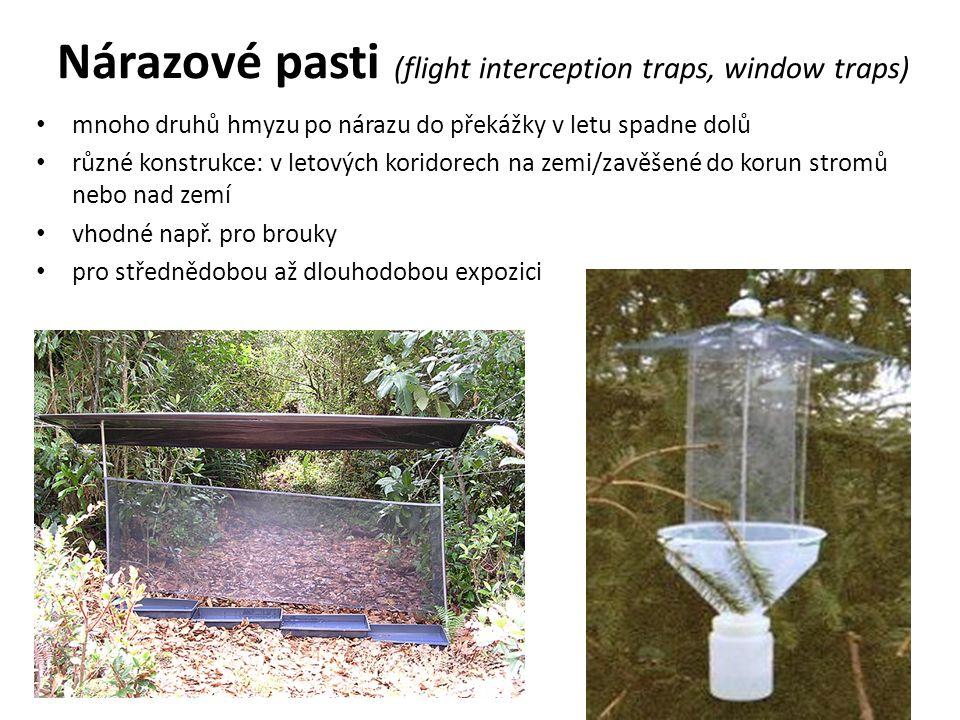 Nárazové pasti (flight interception traps, window traps) mnoho druhů hmyzu po nárazu do překážky v letu spadne dolů různé konstrukce: v letových koridorech na zemi/zavěšené do korun stromů nebo nad zemí vhodné např.