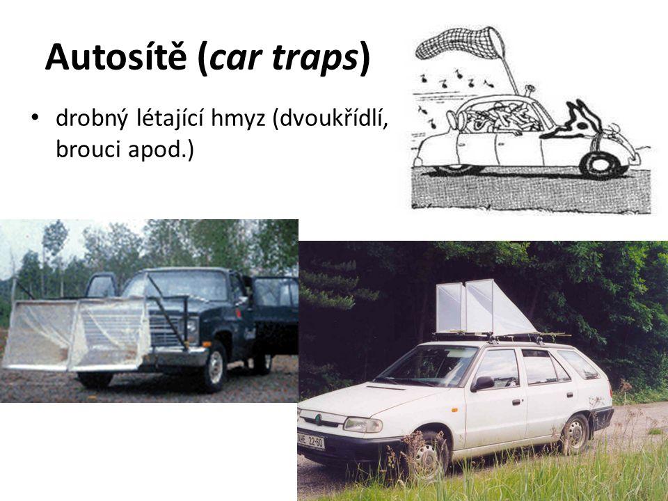 Autosítě (car traps) drobný létající hmyz (dvoukřídlí, brouci apod.)
