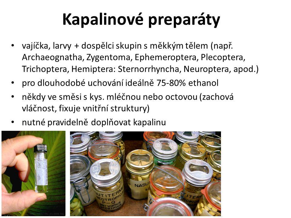 Kapalinové preparáty vajíčka, larvy + dospělci skupin s měkkým tělem (např.