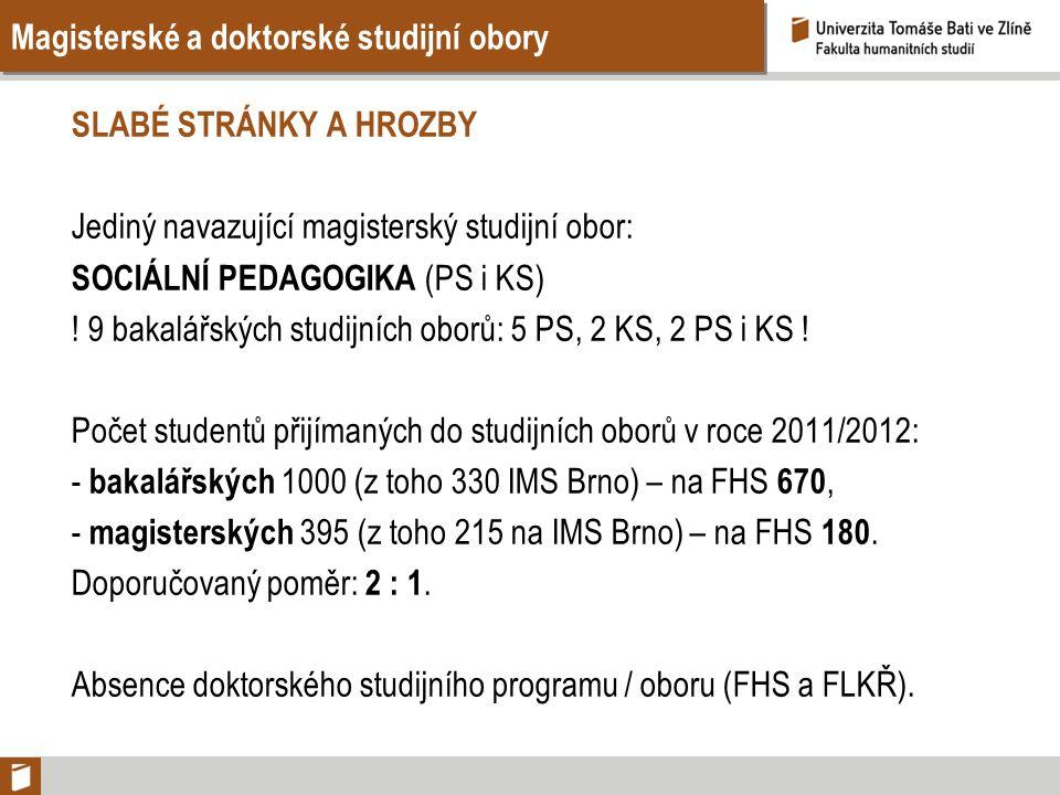 Magisterské a doktorské studijní obory SLABÉ STRÁNKY A HROZBY Jediný navazující magisterský studijní obor: SOCIÁLNÍ PEDAGOGIKA (PS i KS) .