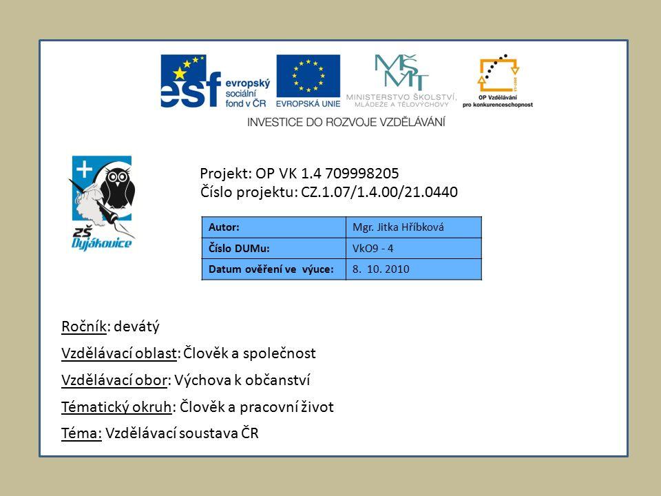 Autor:Mgr. Jitka Hříbková Číslo DUMu:VkO9 - 4 Datum ověření ve výuce:8.