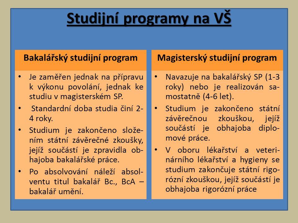 Studijní programy na VŠ Bakalářský studijní program Je zaměřen jednak na přípravu k výkonu povolání, jednak ke studiu v magisterském SP.