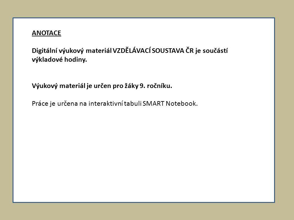 ANOTACE Digitální výukový materiál VZDĚLÁVACÍ SOUSTAVA ČR je součástí výkladové hodiny.