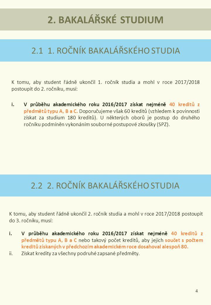 2.1 1.ROČNÍK BAKALÁŘSKÉHO STUDIA K tomu, aby student řádně ukončil 1.