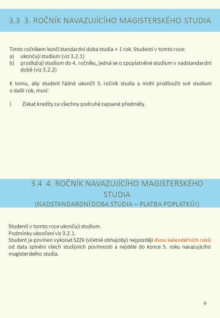 3.3 3. ROČNÍK NAVAZUJÍCÍHO MAGISTERSKÉHO STUDIA 3.4 4.