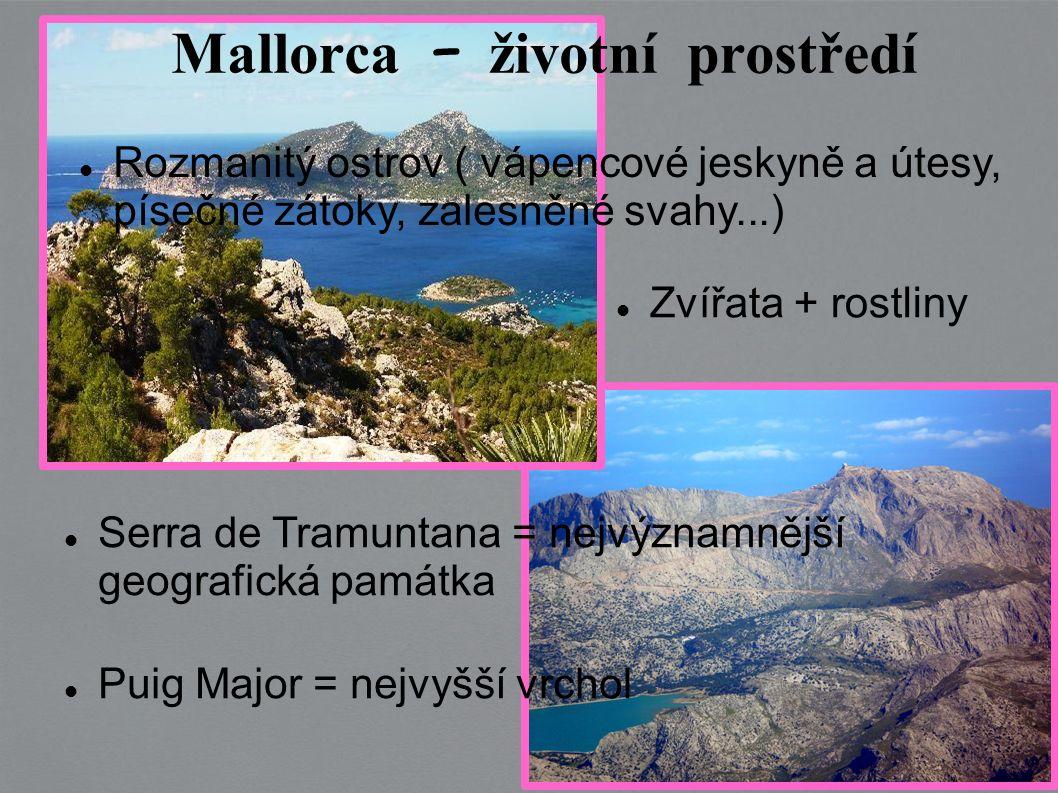 Puig Major = nejvyšší vrchol Serra de Tramuntana = nejvýznamnější geografická památka Zvířata + rostliny Rozmanitý ostrov ( vápencové jeskyně a útesy, písečné zátoky, zalesněné svahy...) Mallorca – životní prostředí