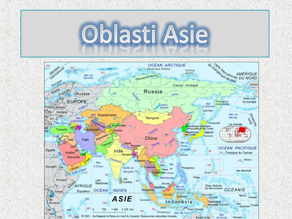 severní Asie východní Asie jihovýchodní Asie jižní Asie jihozápadní Asie Kavkaz centrální Asie