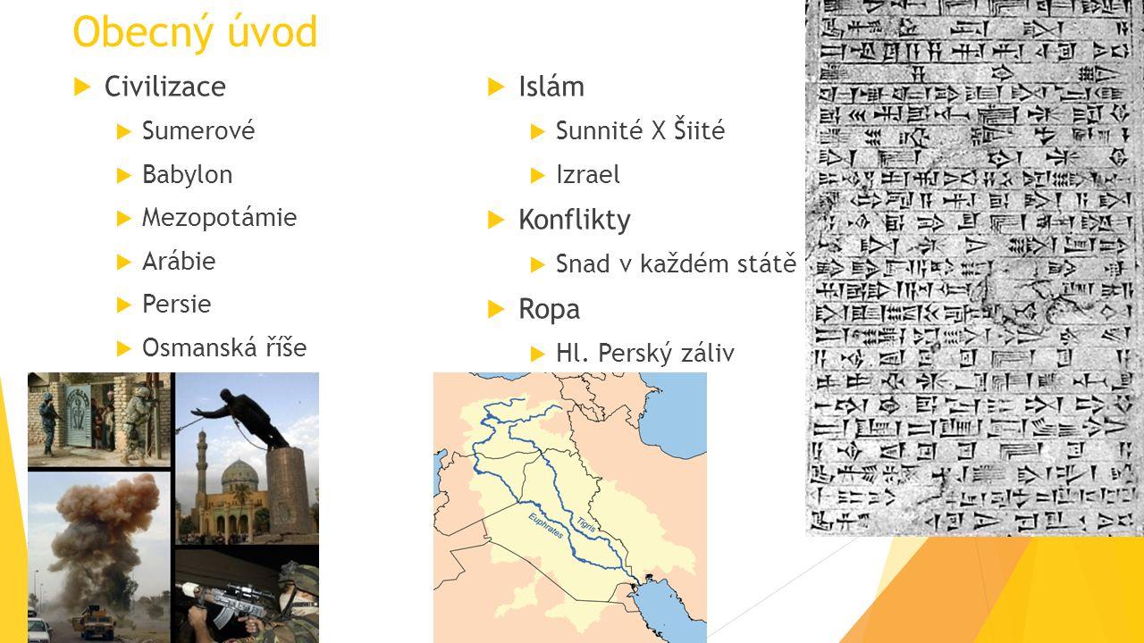 Obecný úvod  Civilizace  Sumerové  Babylon  Mezopotámie  Arábie  Persie  Osmanská říše  Islám  Sunnité X Šiité  Izrael  Konflikty  Snad v každém státě  Ropa  Hl.