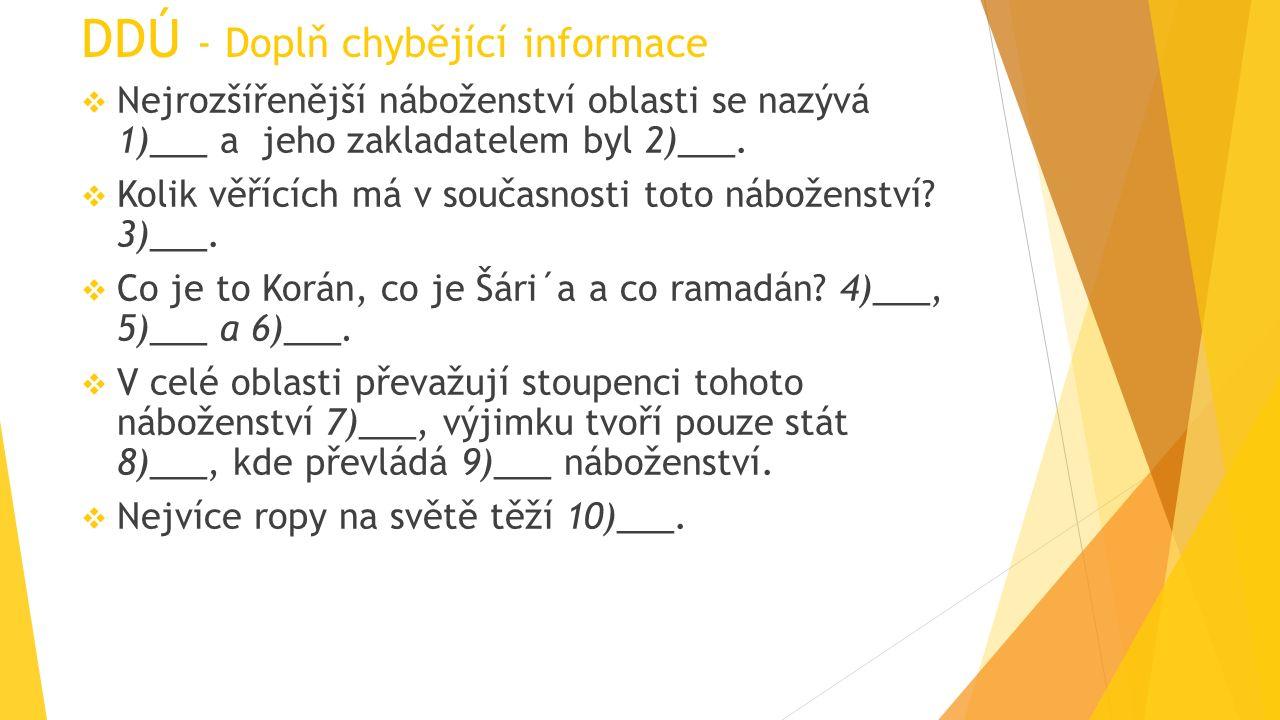 DDÚ - Doplň chybějící informace  Nejrozšířenější náboženství oblasti se nazývá 1)___ a jeho zakladatelem byl 2)___.