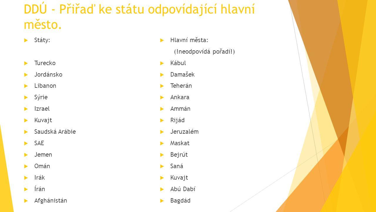 DDÚ - Přiřaď ke státu odpovídající hlavní město.