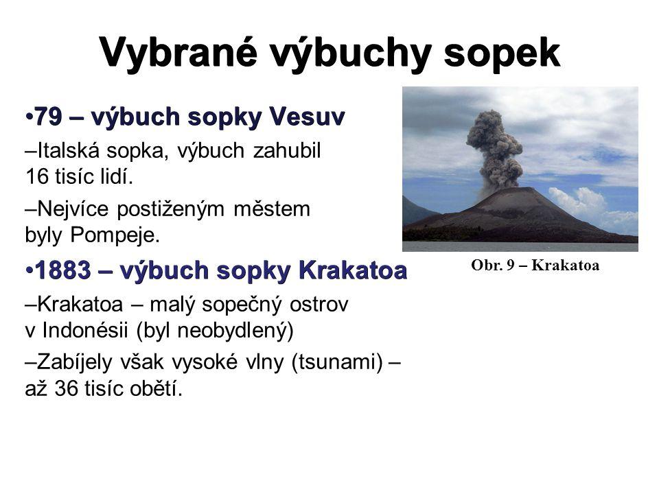 Vybrané výbuchy sopek 79 – výbuch sopky Vesuv79 – výbuch sopky Vesuv –Italská sopka, výbuch zahubil 16 tisíc lidí. –Nejvíce postiženým městem byly Pom