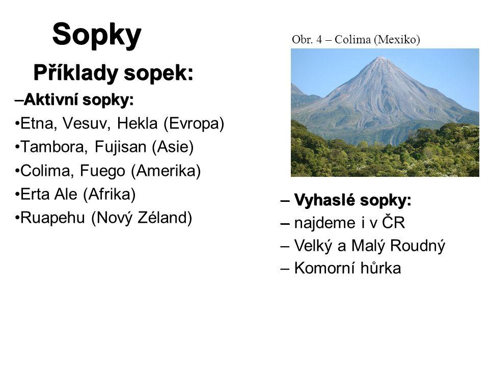 Sopky Příklady sopek: –Aktivní sopky: Etna, Vesuv, Hekla (Evropa) Tambora, Fujisan (Asie) Colima, Fuego (Amerika) Erta Ale (Afrika) Ruapehu (Nový Zéla