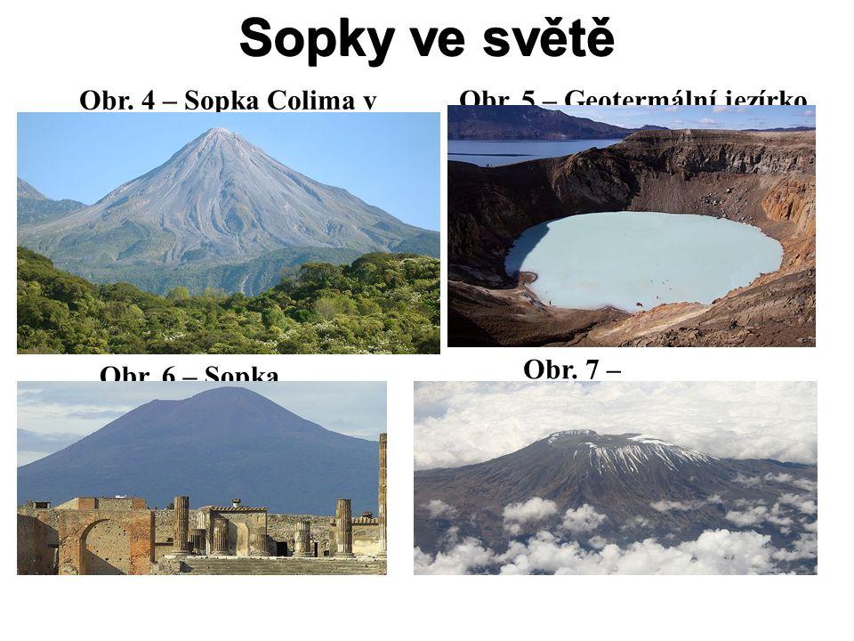 Sopky ve světě Obr. 4 – Sopka Colima v Mexiku Obr. 5 – Geotermální jezírko (sopka Askja) Obr. 6 – Sopka Vesuv Obr. 7 – Kilimandžáro