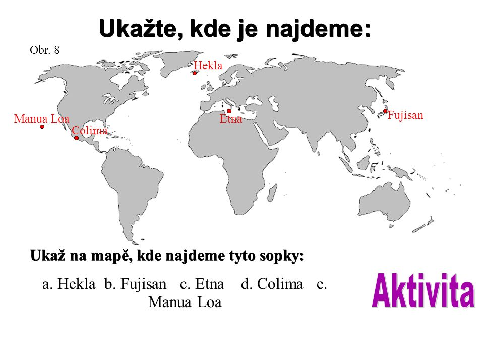 Ukažte, kde je najdeme: Ukaž na mapě, kde najdeme tyto sopky: a. Hekla b. Fujisan c. Etna d. Colima e. Manua Loa Obr. 8 Manua Loa Colima Hekla Etna Fu