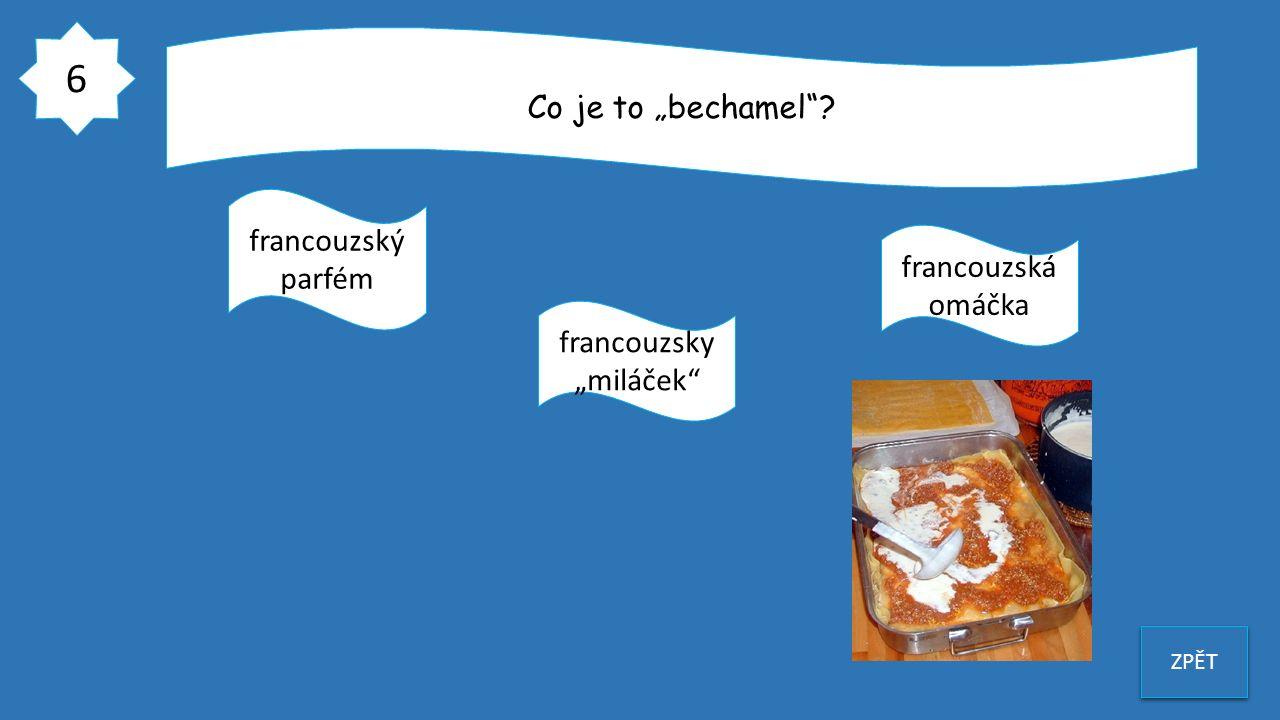 """6 ZPĚT Co je to """"bechamel""""? francouzský parfém francouzsky """"miláček"""" francouzská omáčka"""
