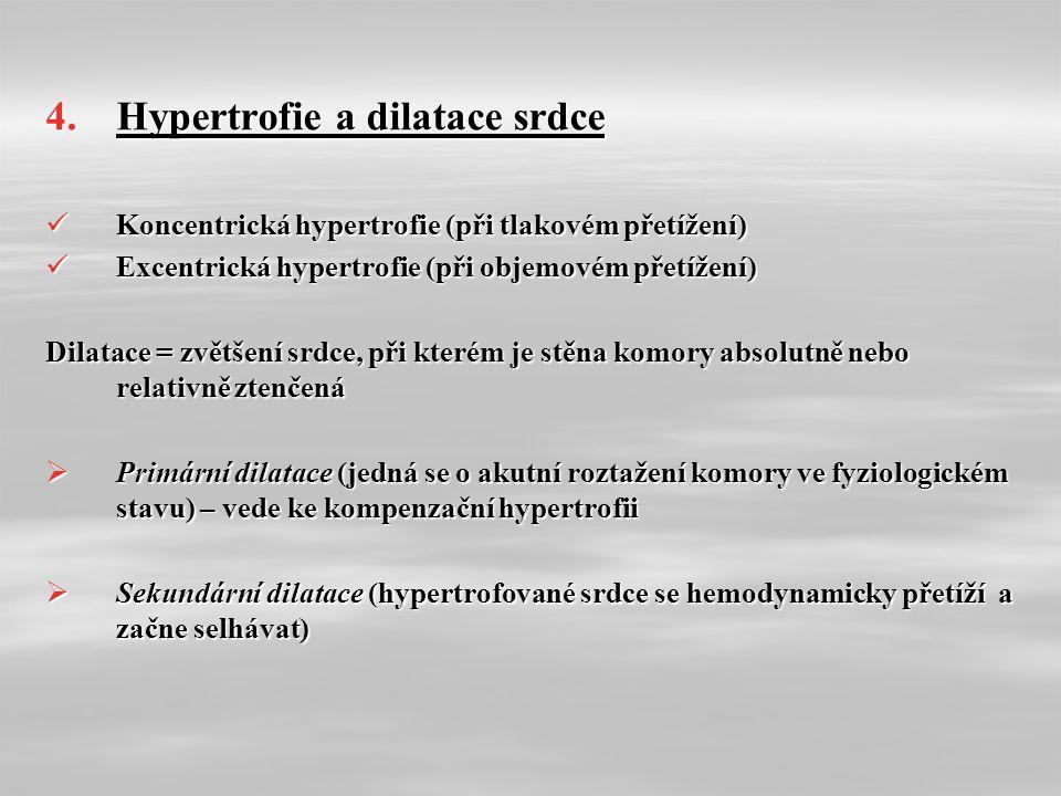 4.Hypertrofie a dilatace srdce Koncentrická hypertrofie (při tlakovém přetížení) Koncentrická hypertrofie (při tlakovém přetížení) Excentrická hypertrofie (při objemovém přetížení) Excentrická hypertrofie (při objemovém přetížení) Dilatace = zvětšení srdce, při kterém je stěna komory absolutně nebo relativně ztenčená  Primární dilatace (jedná se o akutní roztažení komory ve fyziologickém stavu) – vede ke kompenzační hypertrofii  Sekundární dilatace (hypertrofované srdce se hemodynamicky přetíží a začne selhávat)
