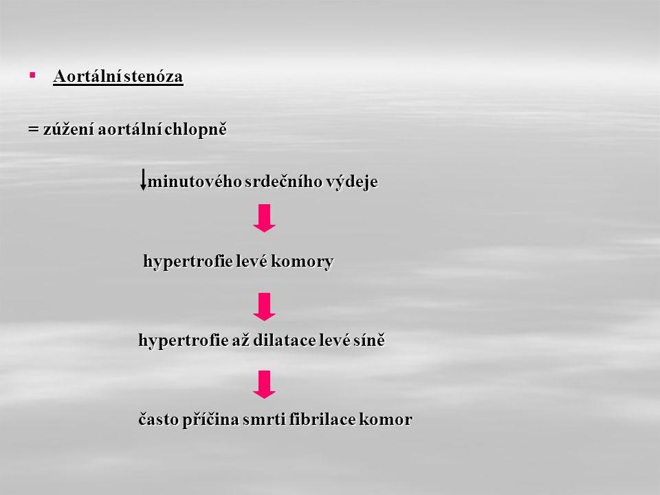  Aortální stenóza = zúžení aortální chlopně minutového srdečního výdeje minutového srdečního výdeje hypertrofie levé komory hypertrofie levé komory hypertrofie až dilatace levé síně hypertrofie až dilatace levé síně často příčina smrti fibrilace komor často příčina smrti fibrilace komor