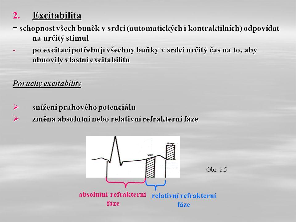 2.Excitabilita = schopnost všech buněk v srdci (automatických i kontraktilních) odpovídat na určitý stimul -po excitaci potřebují všechny buňky v srdci určitý čas na to, aby obnovily vlastní excitabilitu Poruchy excitability  snížení prahového potenciálu  změna absolutní nebo relativní refrakterní fáze absolutní refrakterní fáze relativní refrakterní fáze Obr.