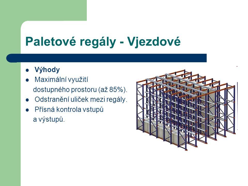 Paletové regály - Vjezdové Výhody Maximální využití dostupného prostoru (až 85%).