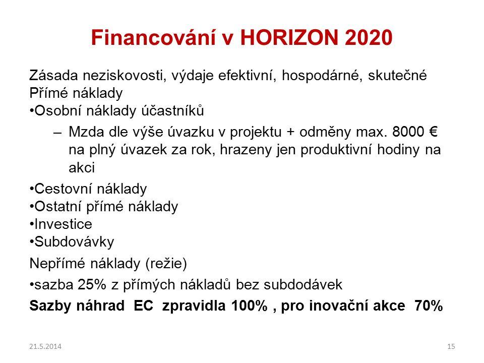 Financování v HORIZON 2020 Zásada neziskovosti, výdaje efektivní, hospodárné, skutečné Přímé náklady Osobní náklady účastníků –Mzda dle výše úvazku v projektu + odměny max.