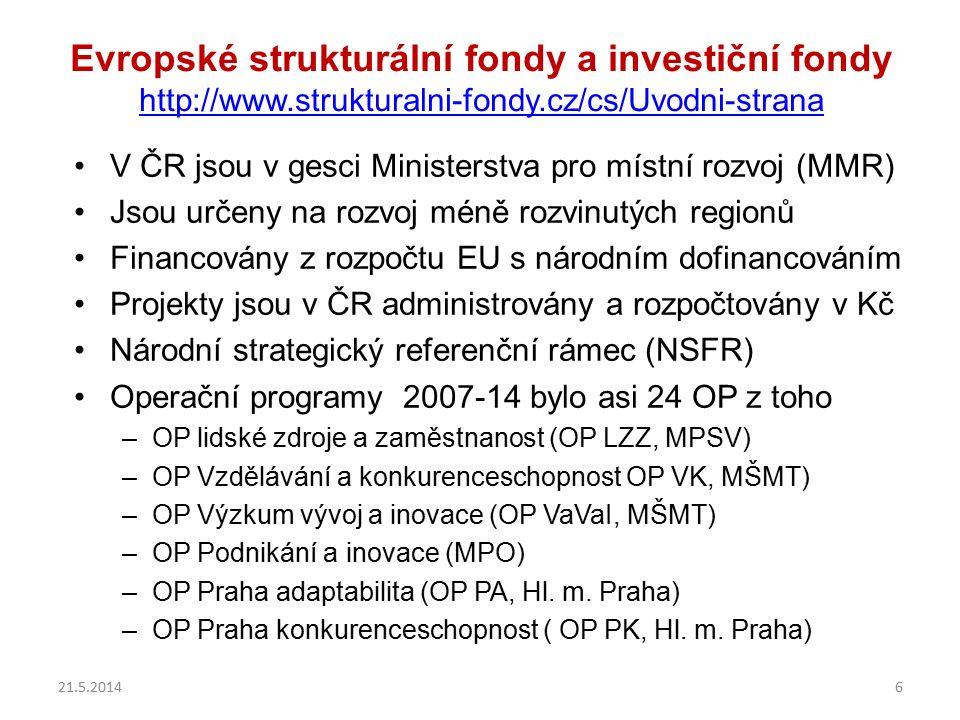 Evropské strukturální fondy a investiční fondy http://www.strukturalni-fondy.cz/cs/Uvodni-strana http://www.strukturalni-fondy.cz/cs/Uvodni-strana V ČR jsou v gesci Ministerstva pro místní rozvoj (MMR) Jsou určeny na rozvoj méně rozvinutých regionů Financovány z rozpočtu EU s národním dofinancováním Projekty jsou v ČR administrovány a rozpočtovány v Kč Národní strategický referenční rámec (NSFR) Operační programy 2007-14 bylo asi 24 OP z toho –OP lidské zdroje a zaměstnanost (OP LZZ, MPSV) –OP Vzdělávání a konkurenceschopnost OP VK, MŠMT) –OP Výzkum vývoj a inovace (OP VaVaI, MŠMT) –OP Podnikání a inovace (MPO) –OP Praha adaptabilita (OP PA, Hl.