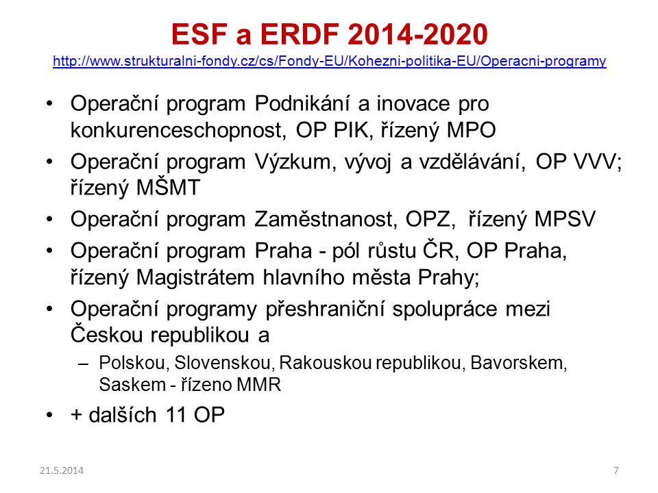 ESF a ERDF 2014-2020 http://www.strukturalni-fondy.cz/cs/Fondy-EU/Kohezni-politika-EU/Operacni-programy http://www.strukturalni-fondy.cz/cs/Fondy-EU/K