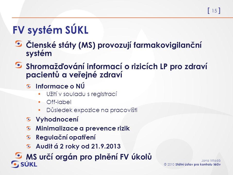 [ 15 ] Jana Mladá © 2010 Státní ústav pro kontrolu léčiv FV systém SÚKL Členské státy (MS) provozují farmakovigilanční systém Shromažďování informací