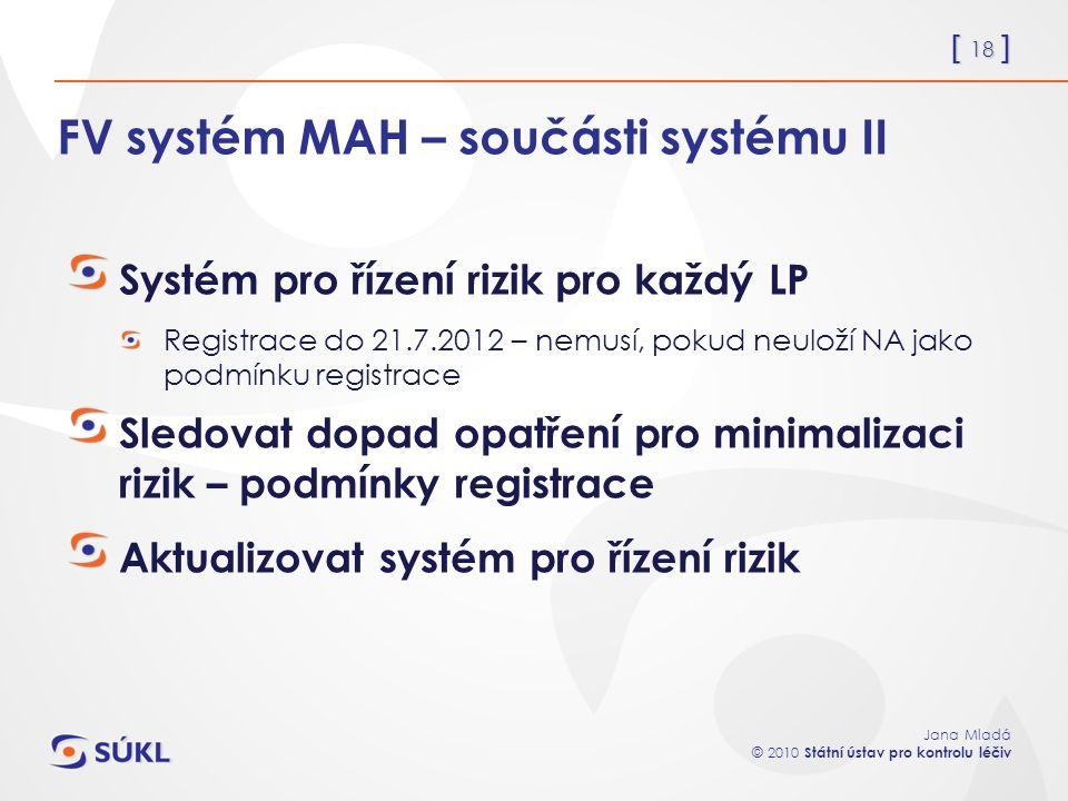 [ 18 ] Jana Mladá © 2010 Státní ústav pro kontrolu léčiv FV systém MAH – součásti systému II Systém pro řízení rizik pro každý LP Registrace do 21.7.2