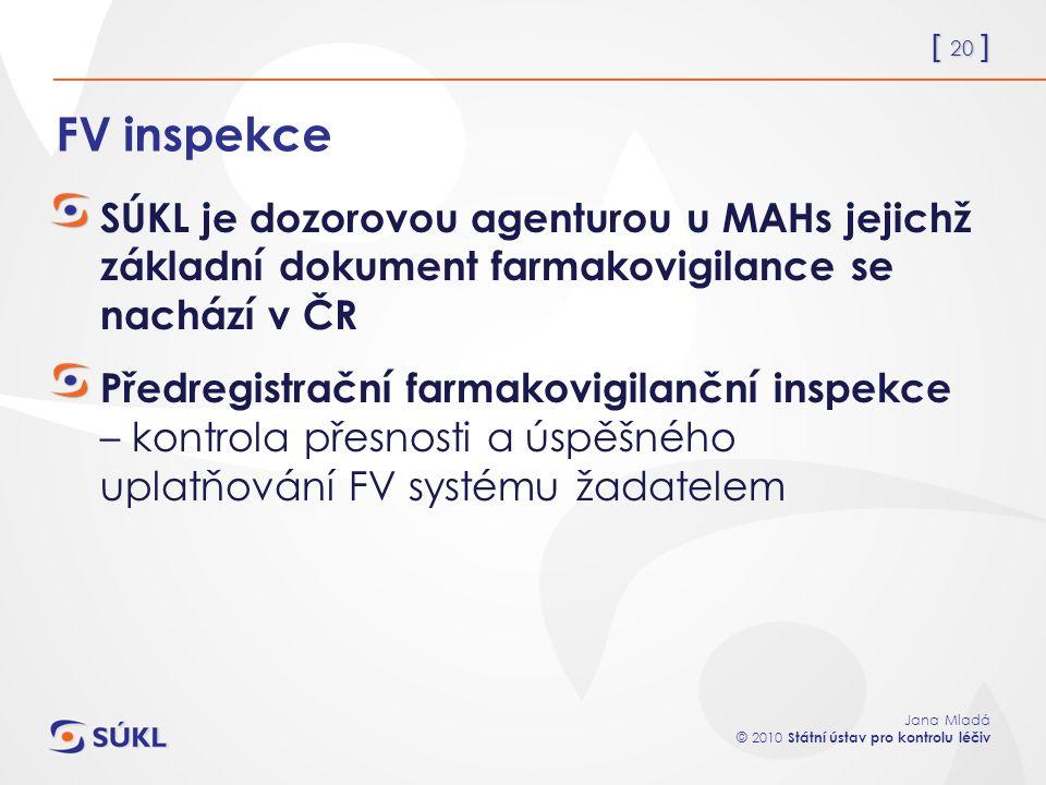 [ 20 ] Jana Mladá © 2010 Státní ústav pro kontrolu léčiv FV inspekce SÚKL je dozorovou agenturou u MAHs jejichž základní dokument farmakovigilance se