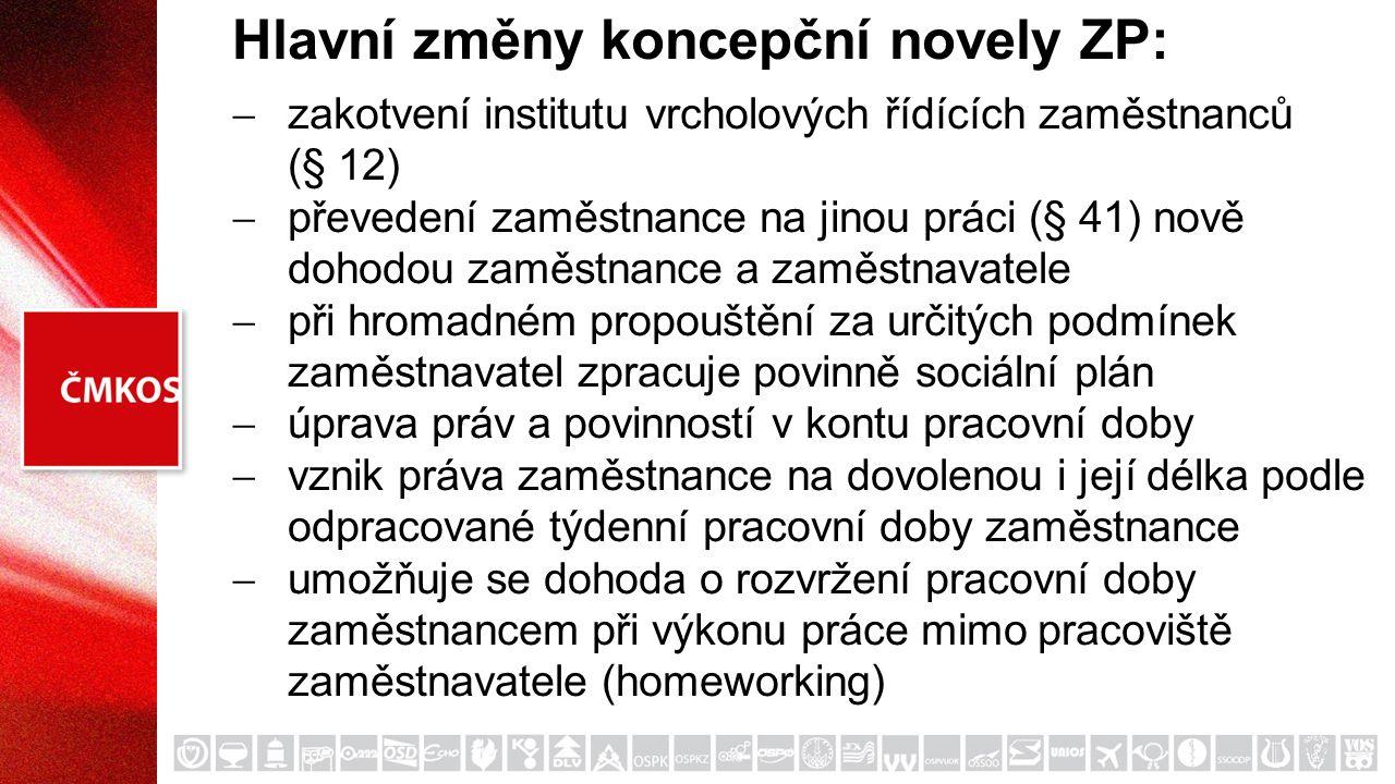 Hlavní změny koncepční novely ZP:  zakotvení institutu vrcholových řídících zaměstnanců (§ 12)  převedení zaměstnance na jinou práci (§ 41) nově doh