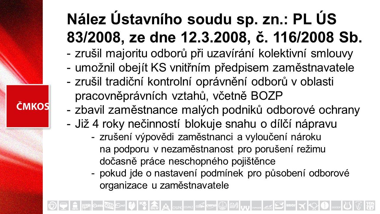 Nález Ústavního soudu sp. zn.: PL ÚS 83/2008, ze dne 12.3.2008, č. 116/2008 Sb. -zrušil majoritu odborů při uzavírání kolektivní smlouvy -umožnil obej