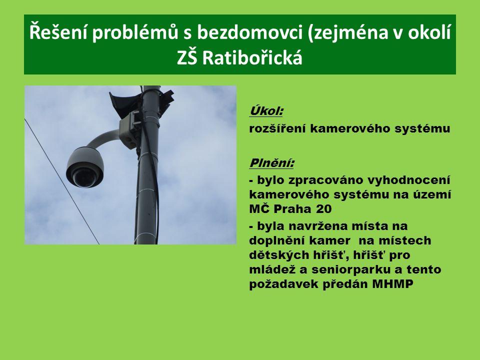 Řešení problémů s bezdomovci (zejména v okolí ZŠ Ratibořická Úkol: rozšíření kamerového systému Plnění: - bylo zpracováno vyhodnocení kamerového systému na území MČ Praha 20 - byla navržena místa na doplnění kamer na místech dětských hřišť, hřišť pro mládež a seniorparku a tento požadavek předán MHMP