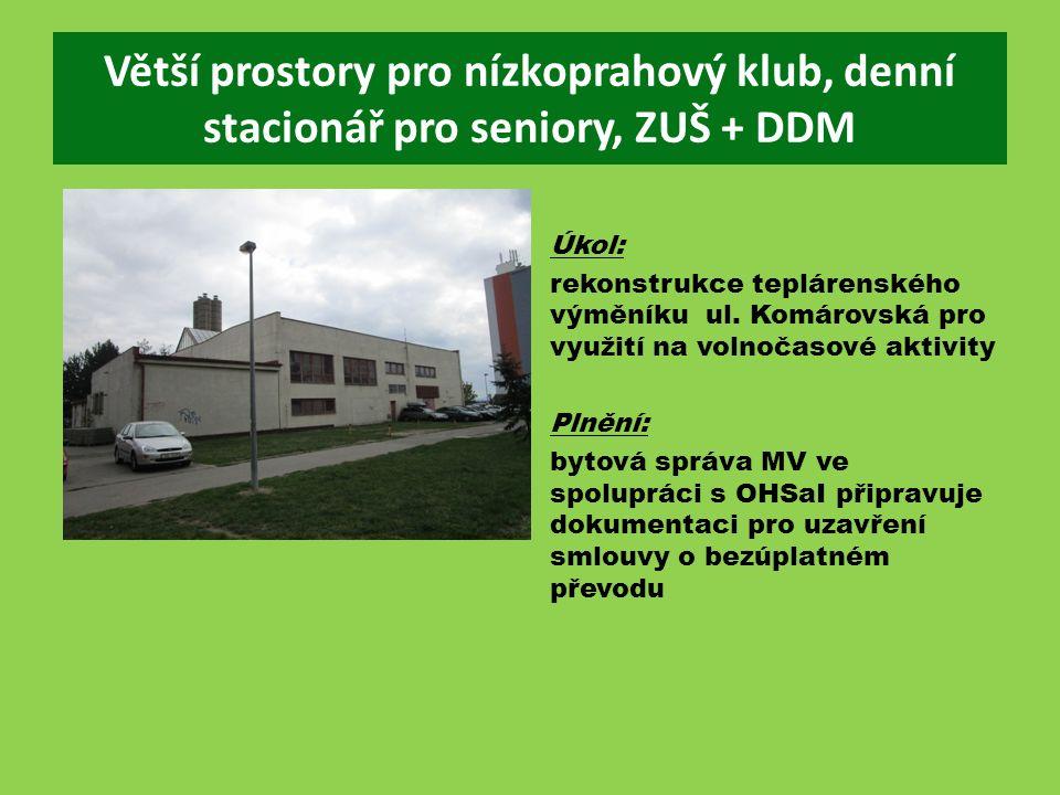 Větší prostory pro nízkoprahový klub, denní stacionář pro seniory, ZUŠ + DDM Úkol: rekonstrukce teplárenského výměníku ul.