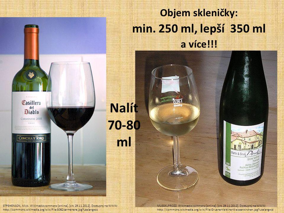 Objem skleničky: min. 250 ml, lepší 350 ml a více!!! Nalít 70-80 ml STPEHENSON, Mick. Wikimedia commons [online]. [cit. 29.11.2012]. Dostupný na WWW: