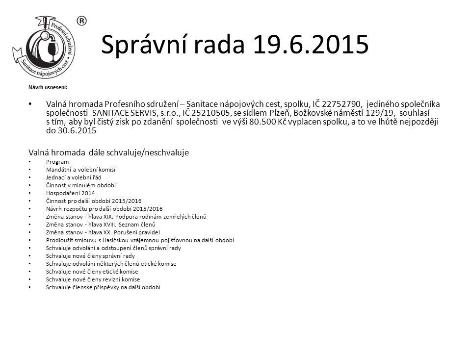 Správní rada 19.6.2015 Návrh usnesení: Valná hromada Profesního sdružení – Sanitace nápojových cest, spolku, IČ 22752790, jediného společníka společnosti SANITACE SERVIS, s.r.o., IČ 25210505, se sídlem Plzeň, Božkovské náměstí 129/19, souhlasí s tím, aby byl čistý zisk po zdanění společnosti ve výši 80.500 Kč vyplacen spolku, a to ve lhůtě nejpozději do 30.6.2015 Valná hromada dále schvaluje/neschvaluje Program Mandátní a volební komisi Jednací a volební řád Činnost v minulém období Hospodaření 2014 Činnost pro další období 2015/2016 Návrh rozpočtu pro další období 2015/2016 Změna stanov - hlava XIX.