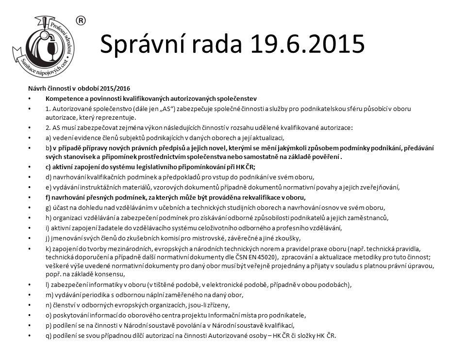 Správní rada 19.6.2015 Návrh činnosti v období 2015/2016 Kompetence a povinnosti kvalifikovaných autorizovaných společenstev 1. Autorizované společens
