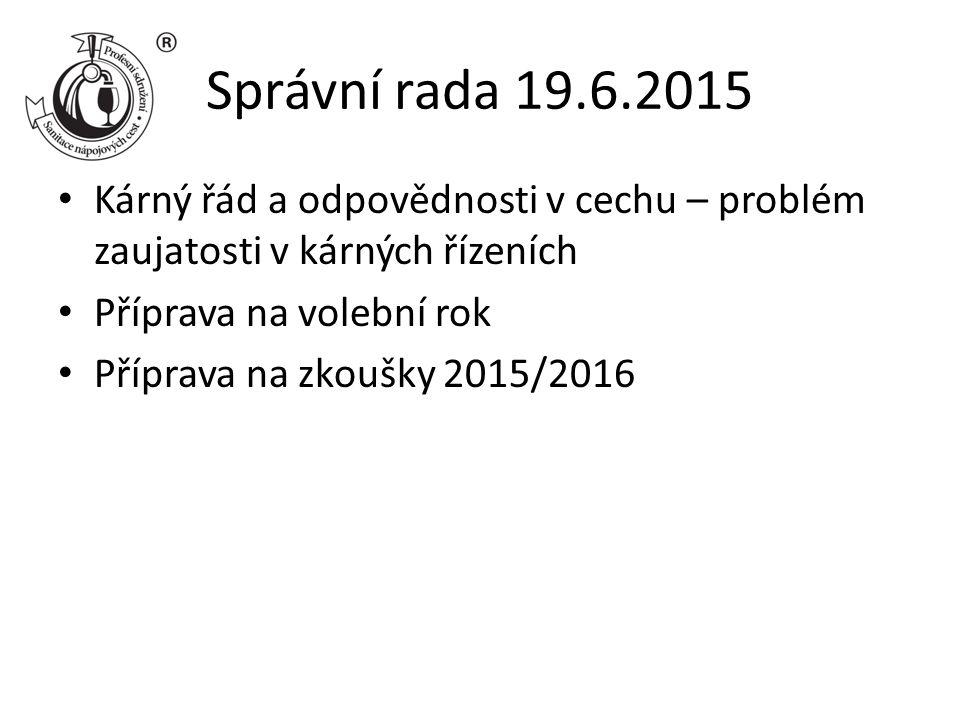 Správní rada 19.6.2015 Kárný řád a odpovědnosti v cechu – problém zaujatosti v kárných řízeních Příprava na volební rok Příprava na zkoušky 2015/2016