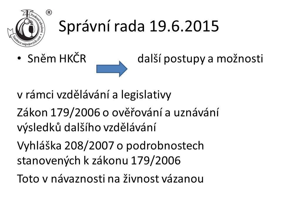 Správní rada 19.6.2015 Sněm HKČR další postupy a možnosti v rámci vzdělávání a legislativy Zákon 179/2006 o ověřování a uznávání výsledků dalšího vzdě