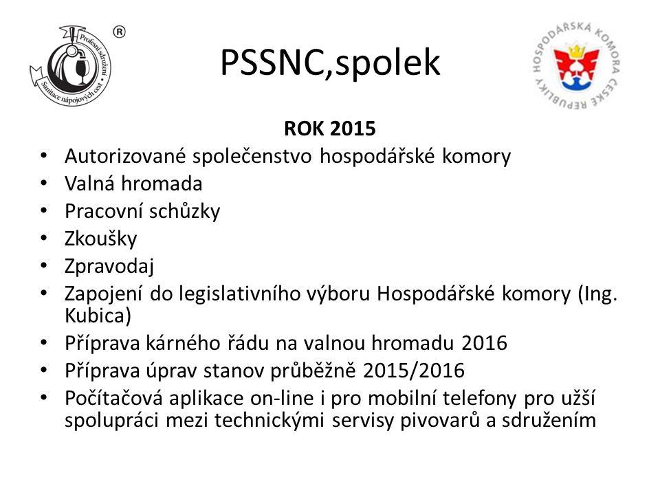 PSSNC,spolek ROK 2015 Autorizované společenstvo hospodářské komory Valná hromada Pracovní schůzky Zkoušky Zpravodaj Zapojení do legislativního výboru