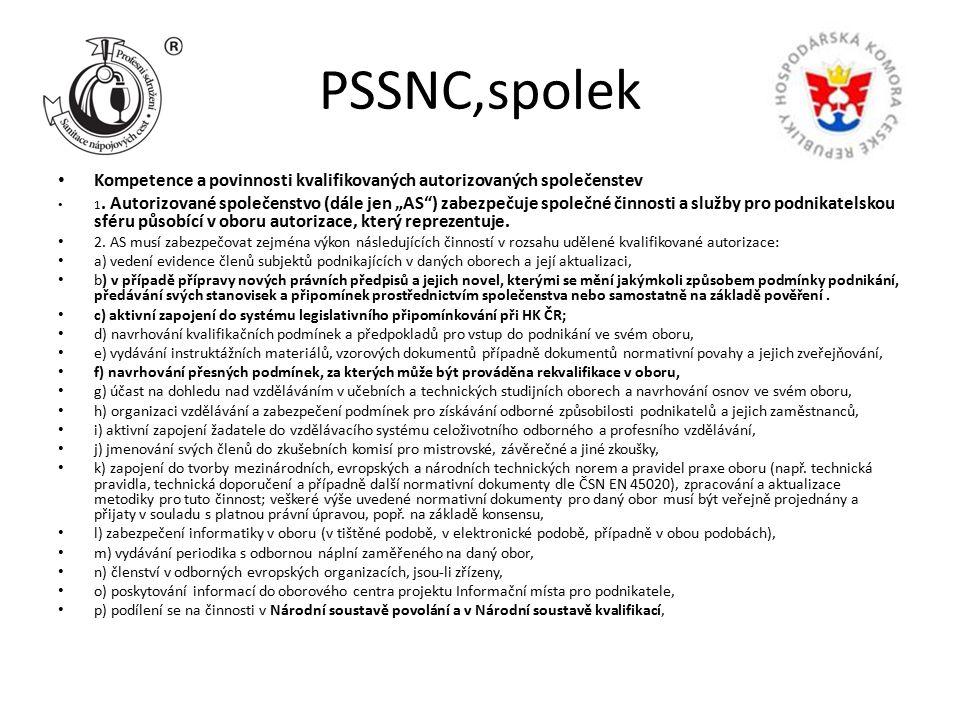 """PSSNC,spolek Kompetence a povinnosti kvalifikovaných autorizovaných společenstev 1. Autorizované společenstvo (dále jen """"AS"""") zabezpečuje společné čin"""