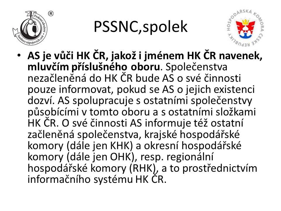 PSSNC,spolek AS je vůči HK ČR, jakož i jménem HK ČR navenek, mluvčím příslušného oboru. Společenstva nezačleněná do HK ČR bude AS o své činnosti pouze