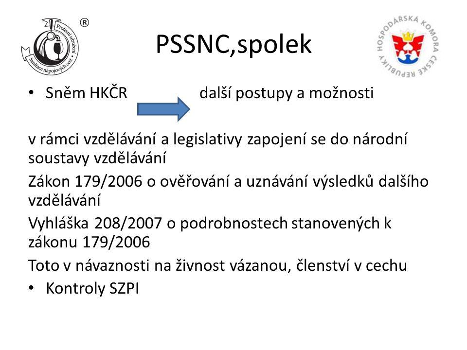 PSSNC,spolek Sněm HKČR další postupy a možnosti v rámci vzdělávání a legislativy zapojení se do národní soustavy vzdělávání Zákon 179/2006 o ověřování a uznávání výsledků dalšího vzdělávání Vyhláška 208/2007 o podrobnostech stanovených k zákonu 179/2006 Toto v návaznosti na živnost vázanou, členství v cechu Kontroly SZPI