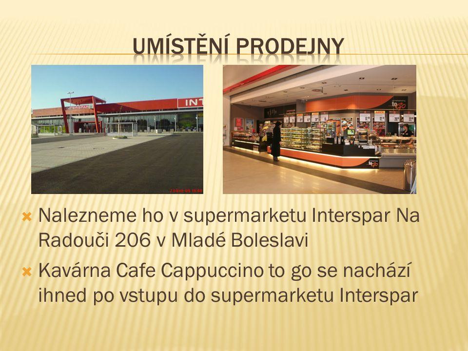  Nalezneme ho v supermarketu Interspar Na Radouči 206 v Mladé Boleslavi  Kavárna Cafe Cappuccino to go se nachází ihned po vstupu do supermarketu In