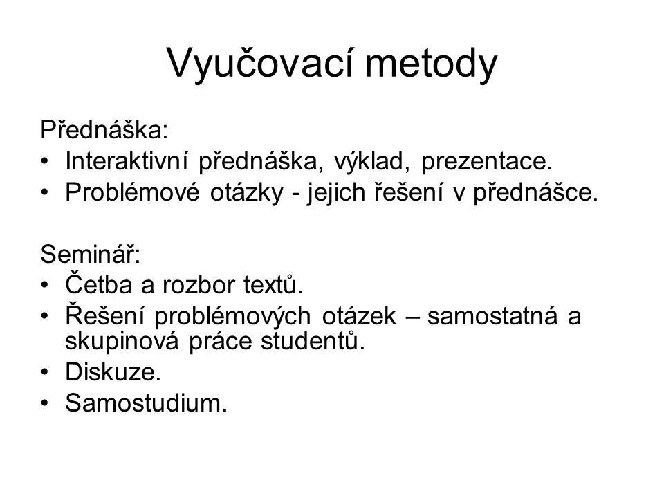 Vyučovací metody Přednáška: Interaktivní přednáška, výklad, prezentace.