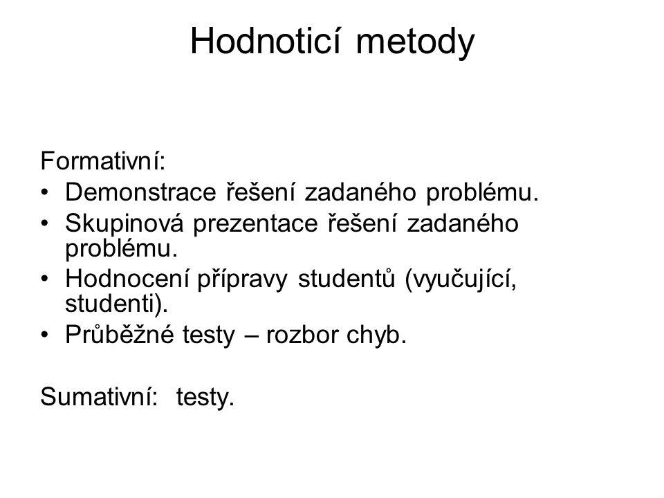 Hodnoticí metody Formativní: Demonstrace řešení zadaného problému.