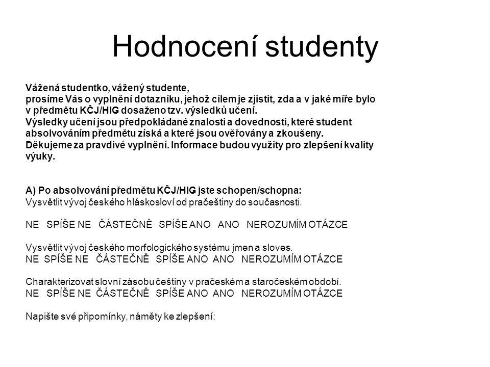Hodnocení studenty B) Po absolvování předmětu KČJ/HIG dovedete: Samostatně interpretovat vybrané jazykové prostředky ve staročeském textu.